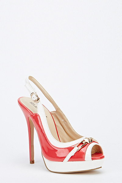 PVC Gold Buckle Sling Back Heels