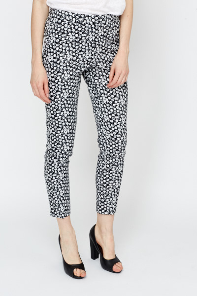 Distressed Polka Dot Tapered Trousers