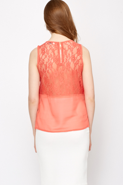 Lace Underlay Pleated Front Top