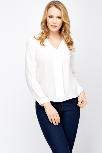 Sheer Front Panel Blouse