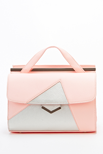 Faux Leather Contrast Box Bag