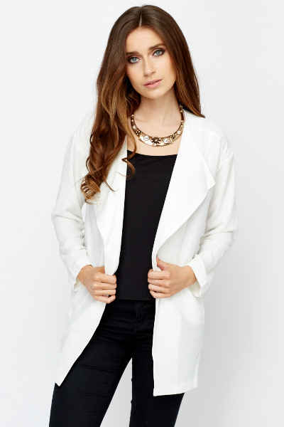 Long Line Off White Blazer - Just £5