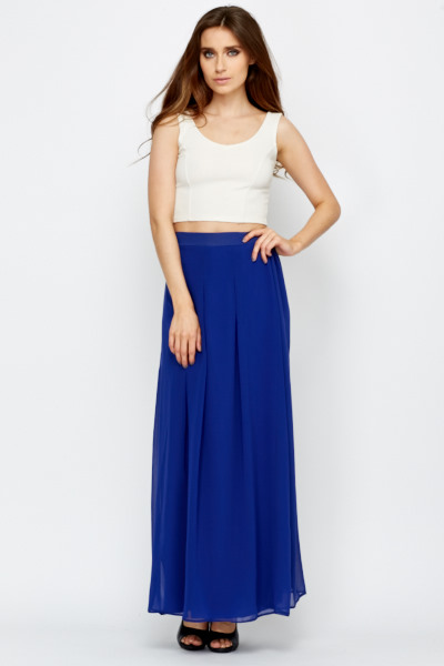 half price detailed images value for money Royal Blue Silky Feel Maxi Skirt