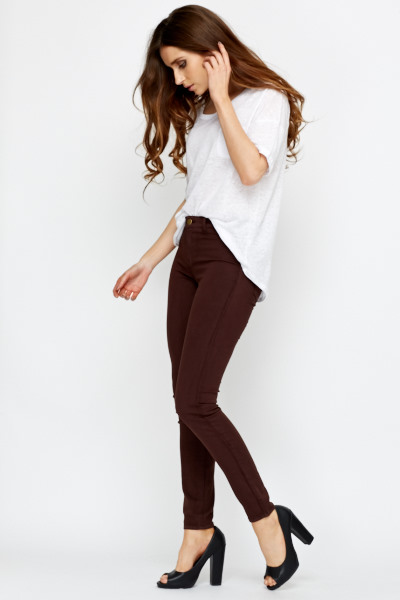 Slim Fit Coffee Cotton Trousers