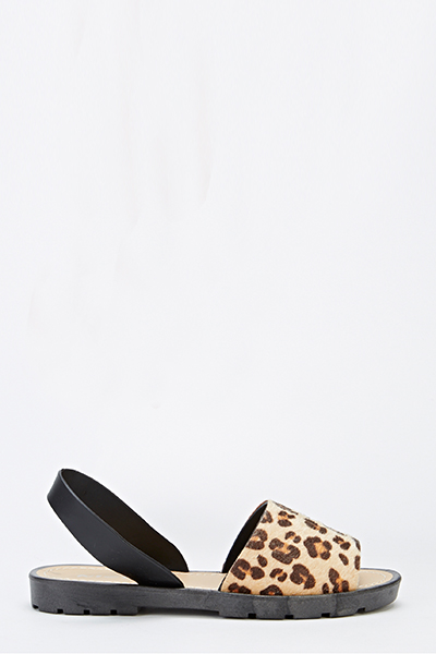 Leopard Wide Track Sole Sandals