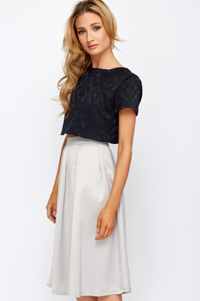 Ornate Jacquard Slit Back Crop Top