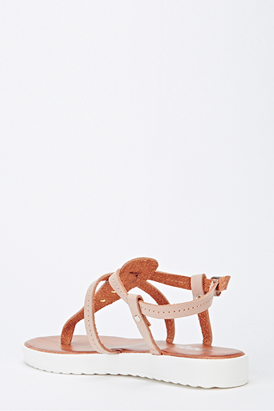 T-Bar Strappy Track Sole Sandals