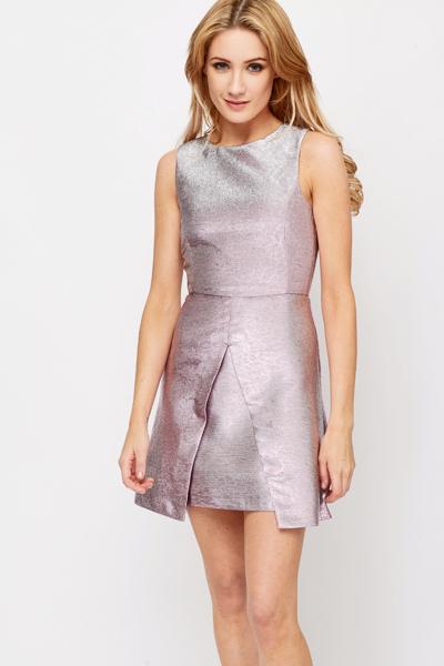 Textured Metallic Skater Dress - Just £5 bbbde1936