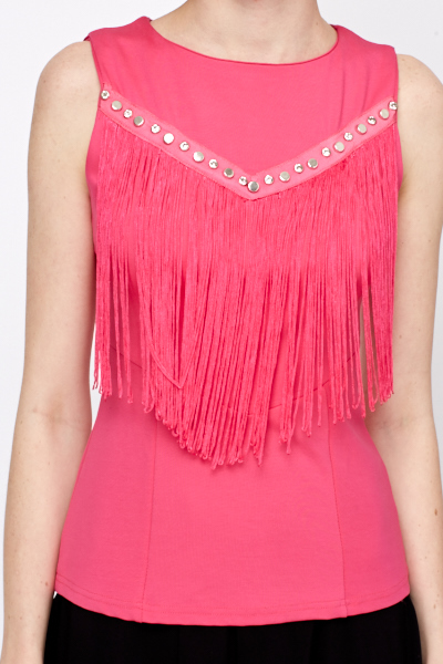 Diamante Studded Tassel Front Top