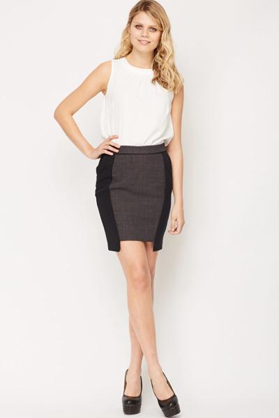 Image of Asymmetric Front Midi Skirt