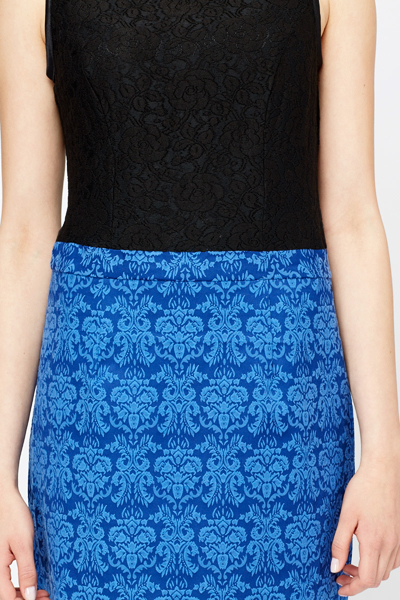 Contrast Lace Overlay Bodice Dress