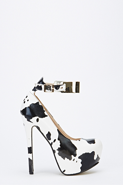 b39fa31aca409 Cow Print Ankle Strap Chunky Heels - Just £5