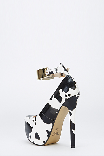 Cow Print Ankle Strap Chunky Heels