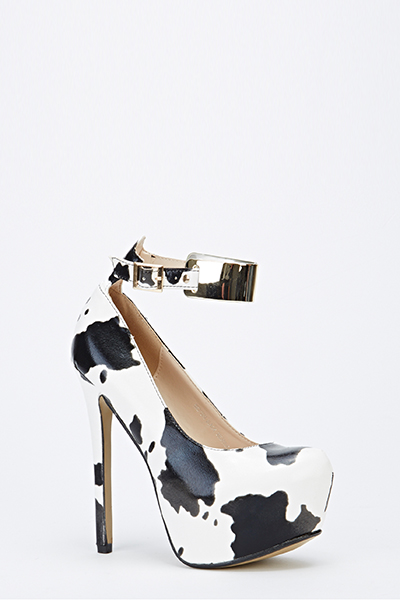 Cow Print Ankle Strap Chunky Heels - Just £5