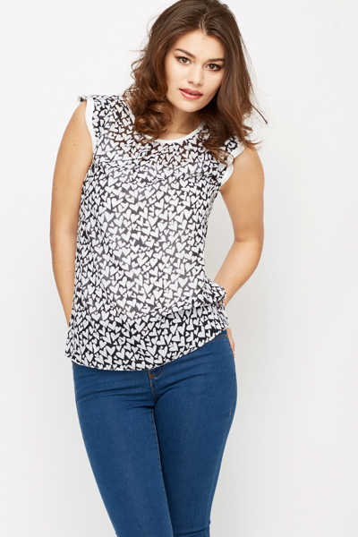 Frill Sleeve Heart Print Blouse