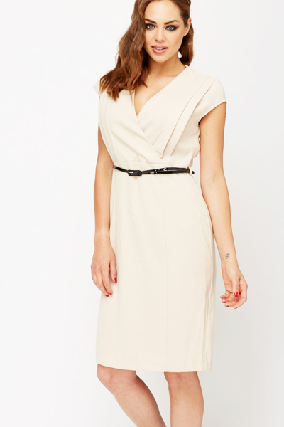 Low Cut Front Panel Pleat Shift Dress