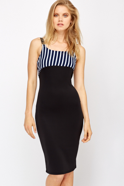 Stripe Top Scuba Bodycon Dress