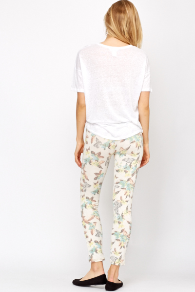 Butterfly Printed Cotton Jeggings