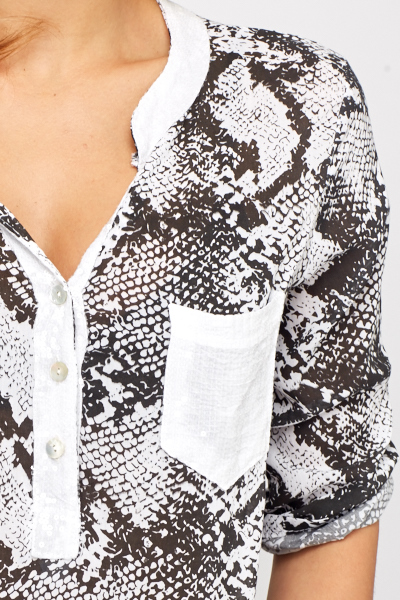 Mock Croc Sequin Trim Top