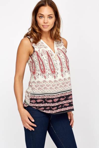 Paisley Sleeveless A Line Top