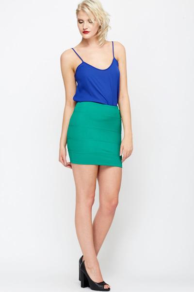 Zip Back Green Mini Skirt