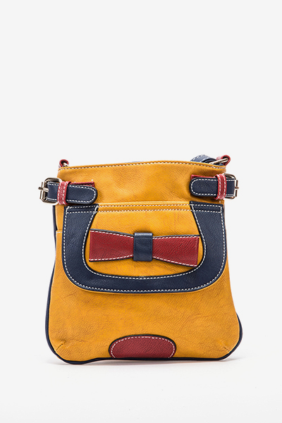 Cross Body Contrast Bow Front Bag