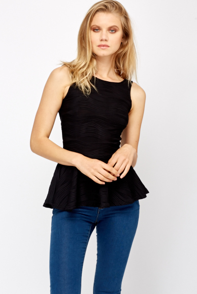 Ribbed Peplum Top