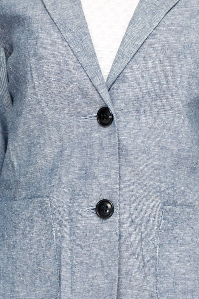 Casual Linen Middle Blue Blazer