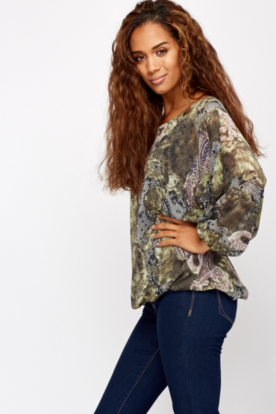 Wild Print Sheer Blouse