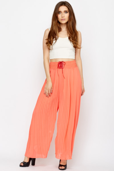Coral Pleated Palazzo Trousers