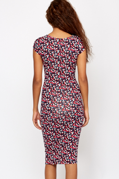 Heart Speckled Cap Sleeve Midi Dress