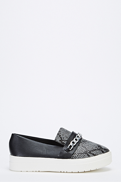 Snake Print Chain Slip On Shoes