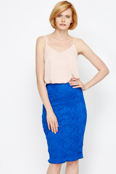 cbbecb285a2 Royal Blue Lace Overlay Skirt - Just £5