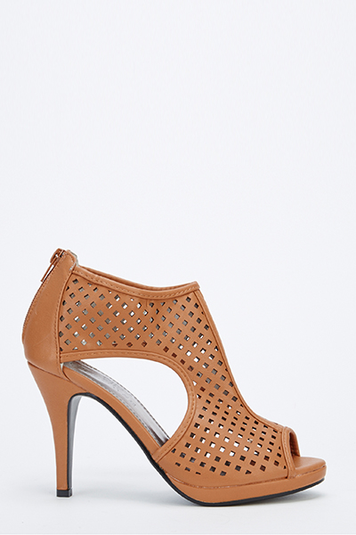 Cut Out Faux Leather Heels