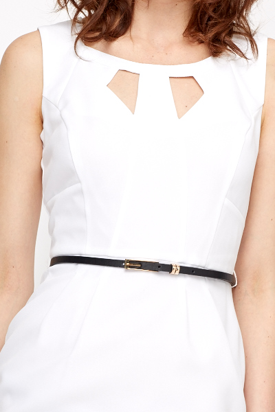 Cut Out Neck Belted Pencil Dress