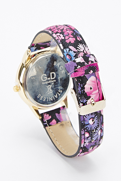 Encrusted Dial Floral Watch