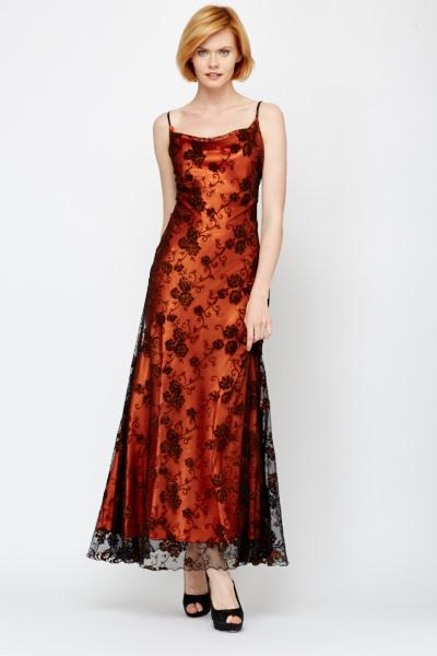 Mesh overlay maxi dress