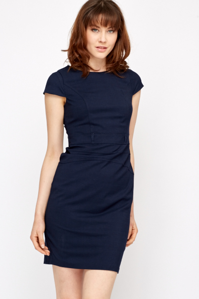 Navy Cap Sleeve Formal Dress