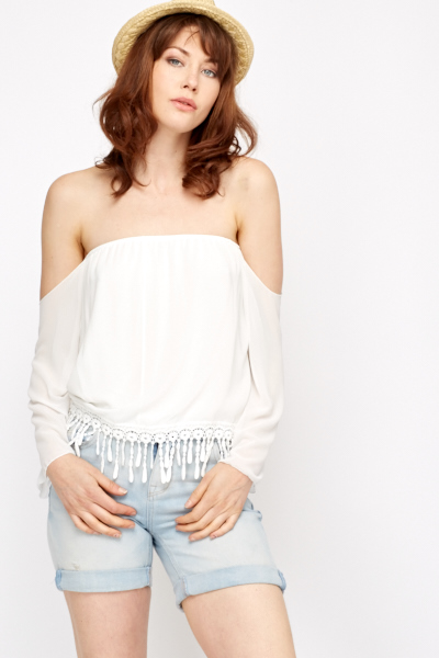 Off Shoulder Crochet Hem Top
