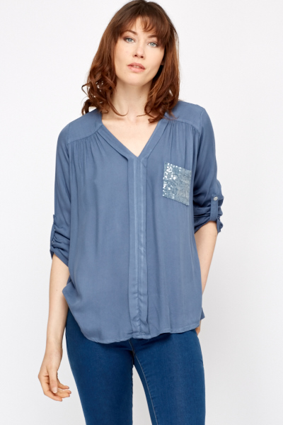 Sequin Pocket Casual Blouse