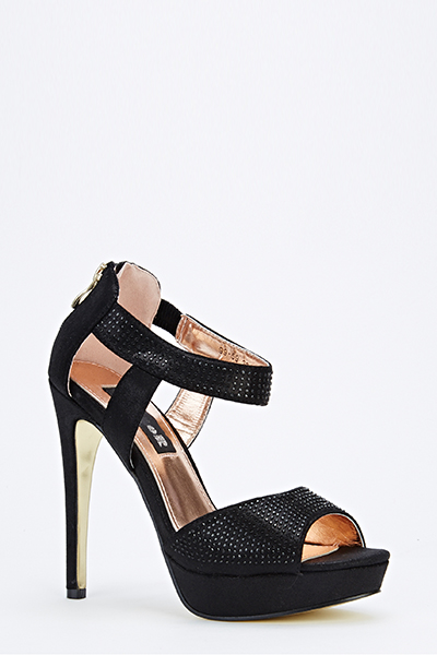 6193d7e1cff Encrusted Ankle Strap High Heels - Just £5