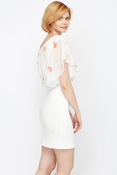 Poppy Print Contrast Chiffon Dress