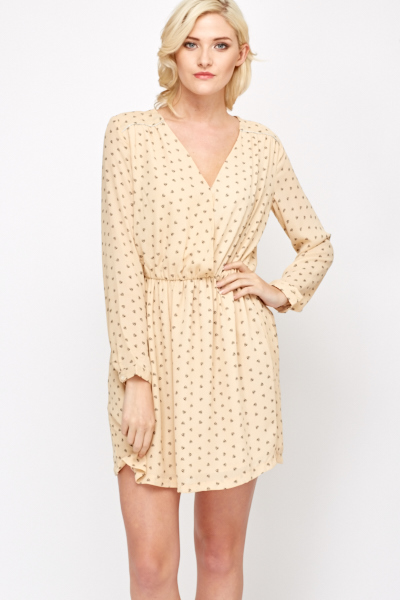 Wrap Front Heart Print Skater Dress