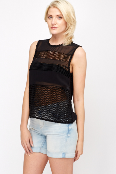 Crochet Bobble Insert Sheer Top