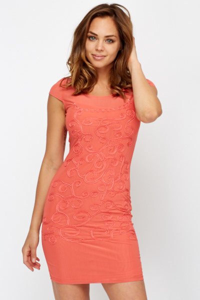 Embroidered Mesh Overlay Shift Dress