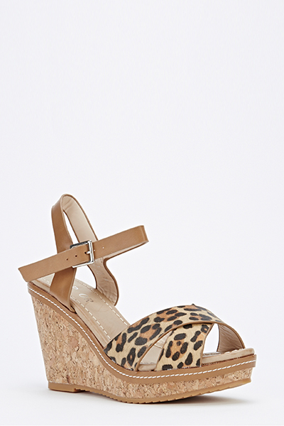 Leopard Front Strap Wedges