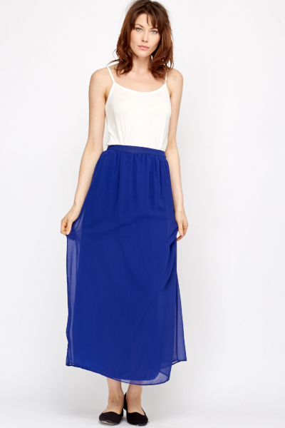 Sheer Overlay Royal Blue Maxi Skirt - Just £5