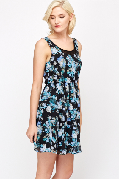 Sleeveless Floral Contrast Sheer Layered Dress