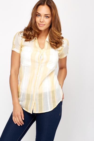 Summer Crochet Insert Striped Shirt Just 163 5