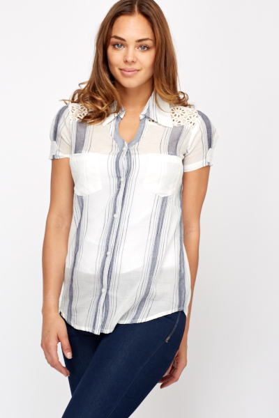Summer Crochet Insert Striped Shirt Just 163 5